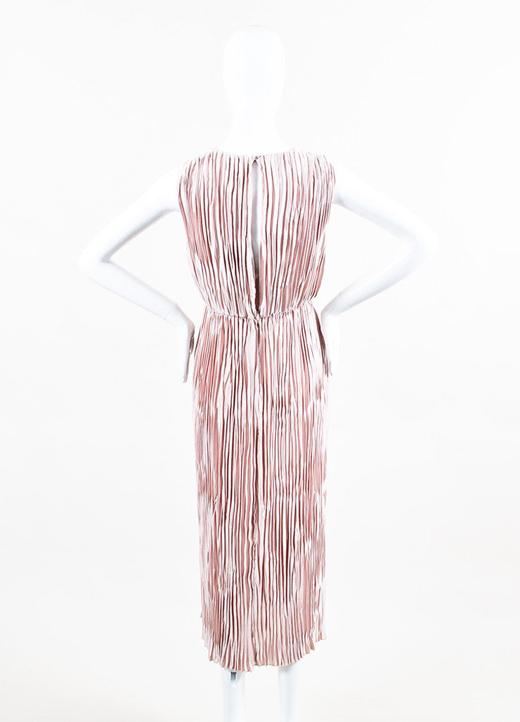 Dusty Rose Gucci Satin Sleeveless Pleated Open Back Dress Back