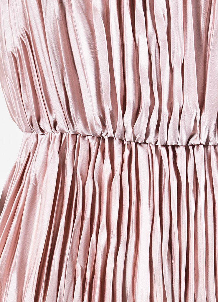Dusty Rose Gucci Satin Sleeveless Pleated Open Back Dress Detail