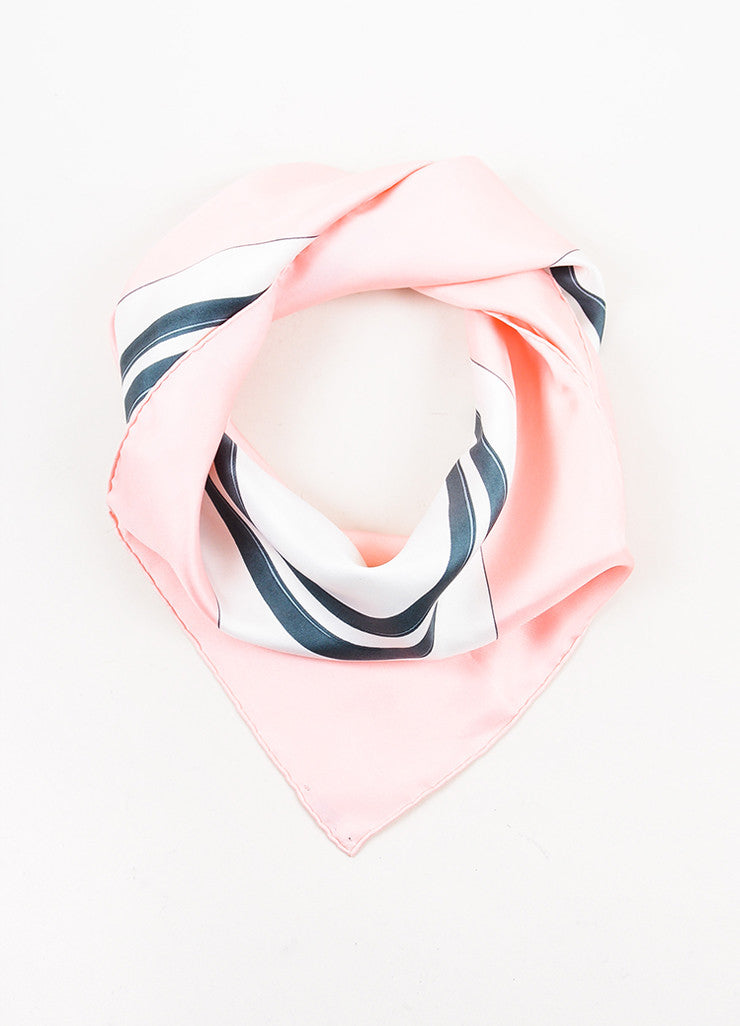 "Hermes Pink, White, and Blue Silk ""Brides de Gala"" Print 90 cm Square Scarf Frontview"