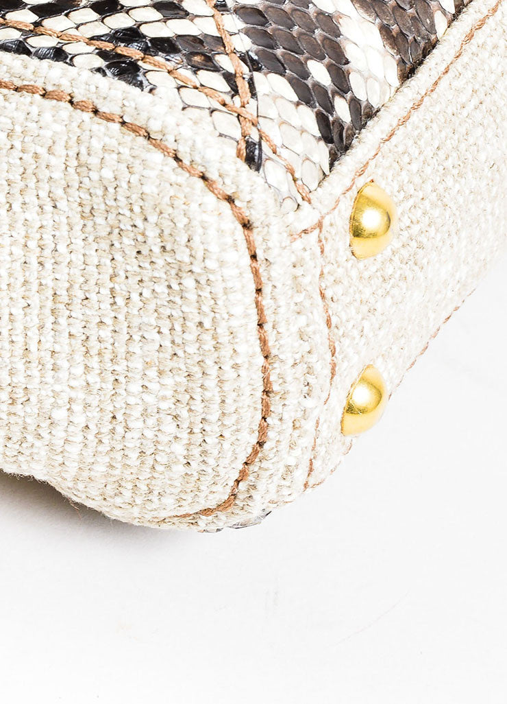 "Beige and Prada Green Tweed Python ""Lino Twist"" Braid Strap Frame Shoulder Bag Detail"