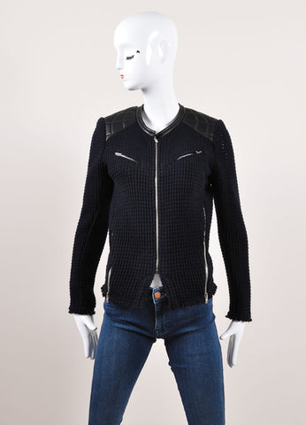 "Iro Navy and Black Woven Knit Leather Trim Zip ""Ceylona"" Jacket Frontview"