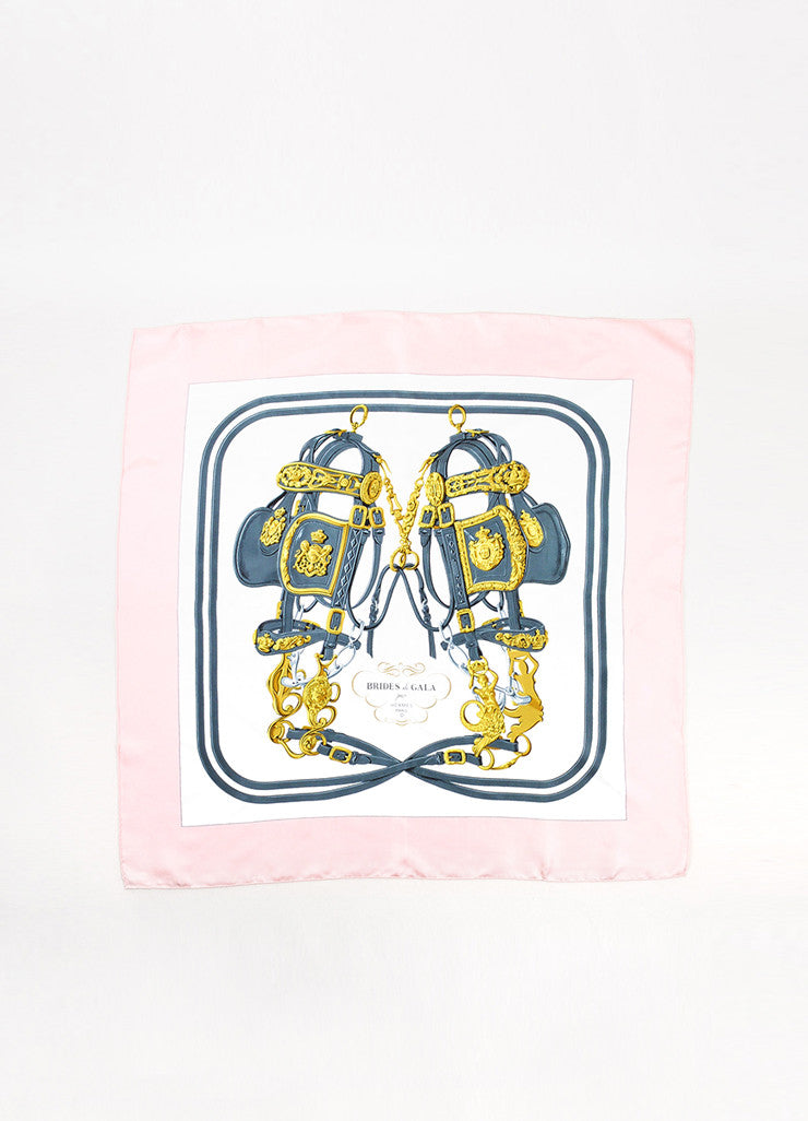 "Hermes Pink, White, and Blue Silk ""Brides de Gala"" Print 90 cm Square Scarf Frontview 2"