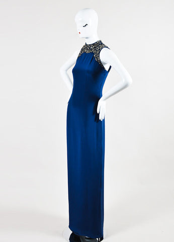 Marchesa Notte Navy and Metallic Silver Silk Embellished Sleeveless Gown Sideview