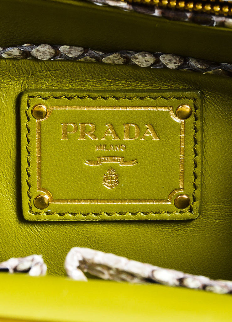 "Beige and Prada Green Tweed Python ""Lino Twist"" Braid Strap Frame Shoulder Bag Brand"