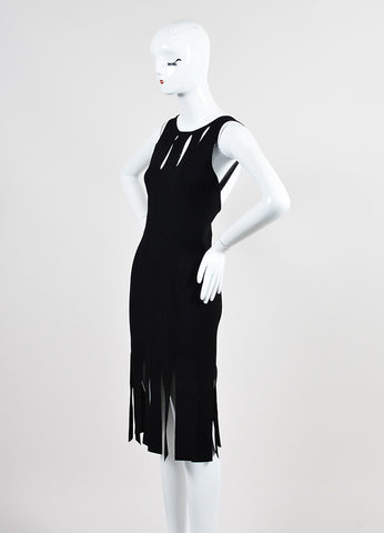 Black Cushnie Et Ochs Stretch Knit Sleeveless Cut Out Fringe Bodycon Dress Sideview