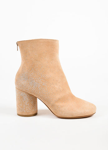 Maison Martin Margiela Tan Suede Embellished Heel Booties Side