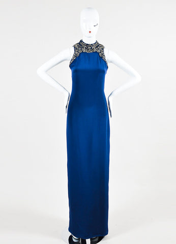 Marchesa Notte Navy and Metallic Silver Silk Embellished Sleeveless Gown Frontview