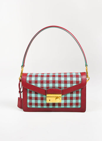 "Prada Red Saffiano Leather Teal Checkered ""Sound"" GHW Shoulder Bag Frontview"