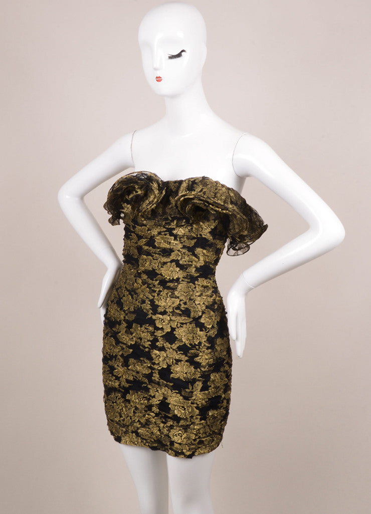 Vicky Tiel Black and Gold Lace Ruffle Strapless Short Cocktail Dress Sideview