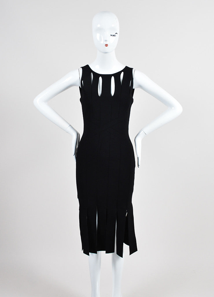Black Cushnie Et Ochs Stretch Knit Sleeveless Cut Out Fringe Bodycon Dress Frontview