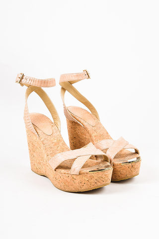 "Jimmy Choo Beige Python Embossed Leather ""Papyrus"" Cork Wedge Sandals Frontview"