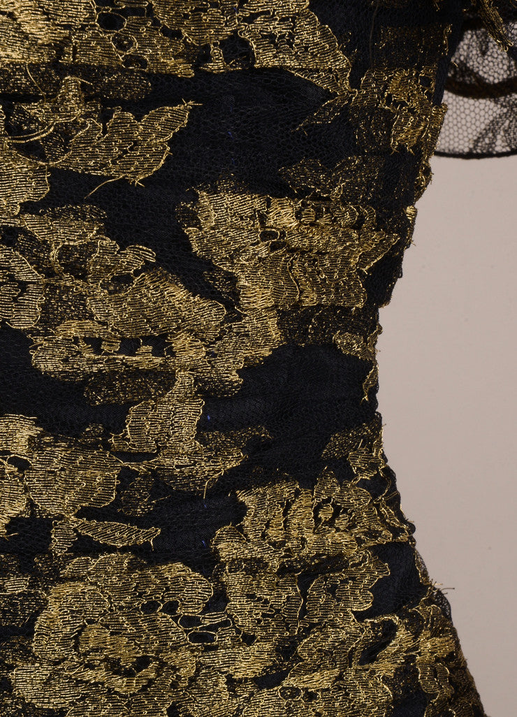 Vicky Tiel Black and Gold Lace Ruffle Strapless Short Cocktail Dress Detail