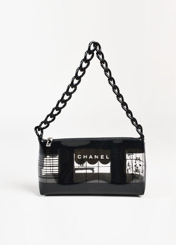 Chanel Clear and Black Vinyl Coco Window Pane Acrylic Chain Strap Shoulder Bag Frontview