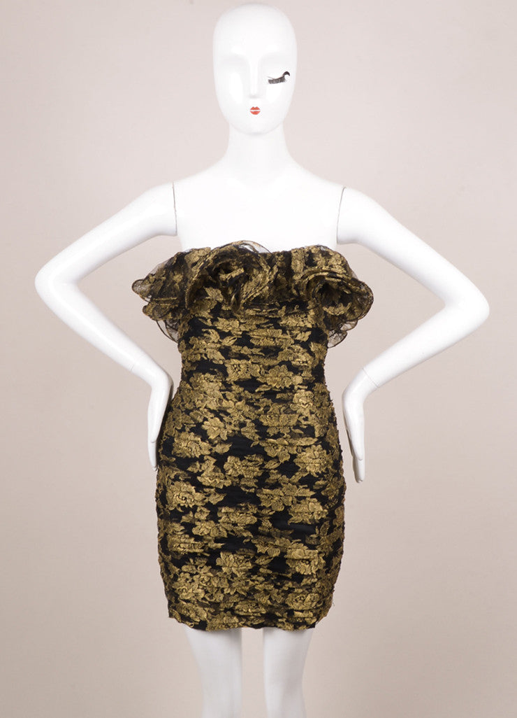 Vicky Tiel Black and Gold Lace Ruffle Strapless Short Cocktail Dress Frontview