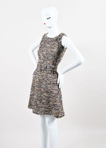 Chanel 07A Brown Yellow Red Metallic Cotton & Wool Tweed Belted Dress Front