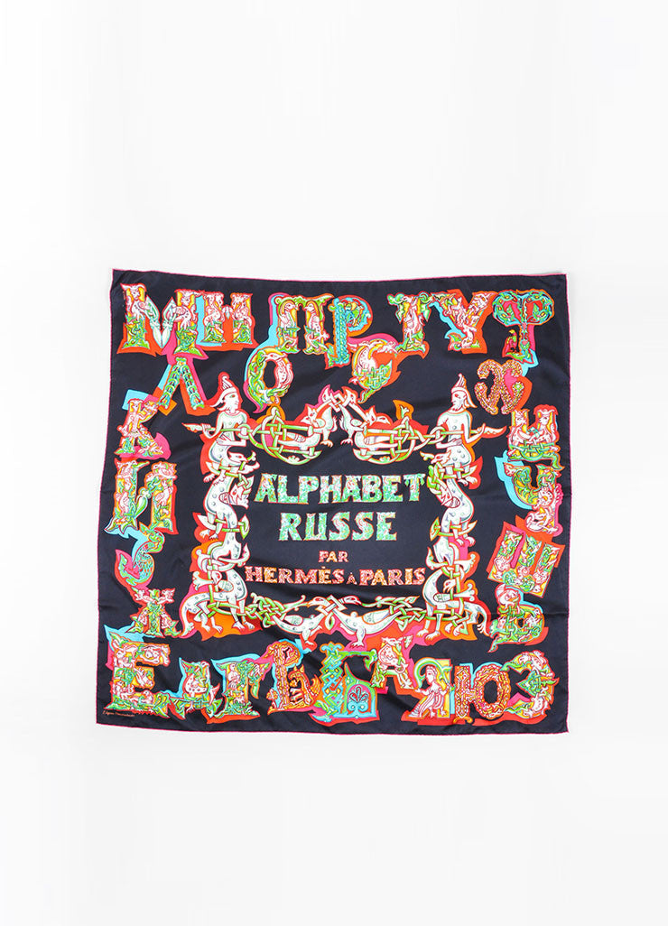"Hermes Black and Multicolor Silk Twill ""Alphabet Russe"" Russian Print 90cm Scarf Frontview"