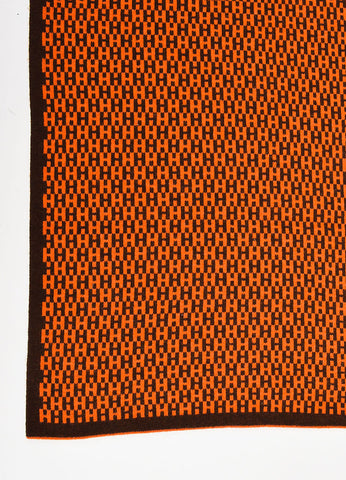 "Hermes Orange and Brown Cashmere ""H"" Scarf Detail"