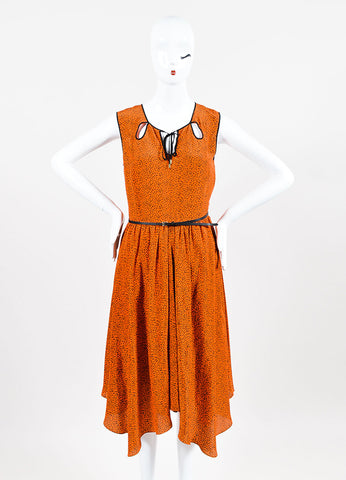Jason Wu Orange and Black Silk Floral Print Belted Keyhole Dress Frontview