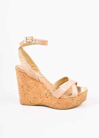 "Jimmy Choo Beige Python Embossed Leather ""Papyrus"" Cork Wedge Sandals Sideview"