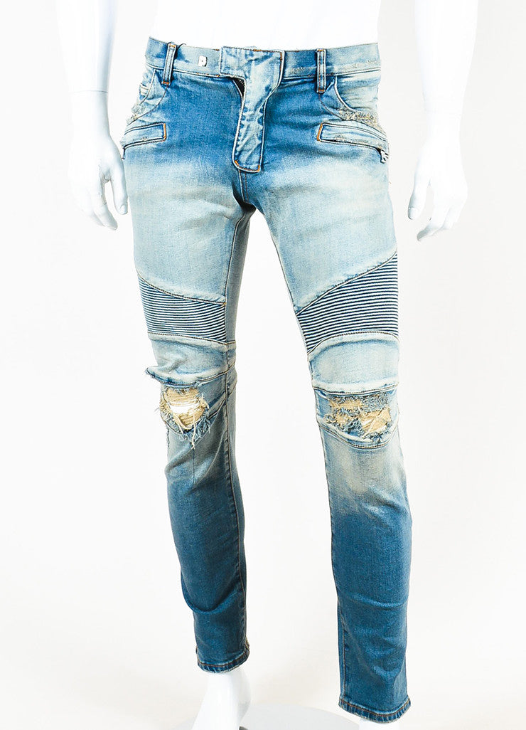 Men's Balmain Blue Denim Faded Distressed Slim Fit Biker Jeans  Frontview