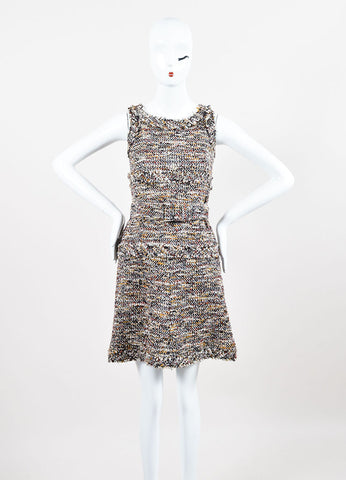 Chanel 07A Brown Yellow Red Metallic Cotton & Wool Tweed Belted Dress Front 2