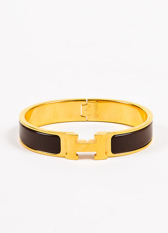 "Hermes Brown Gold Plated and Enameled 'H' ""Clic"" PM Hinged Bangle Frontview"