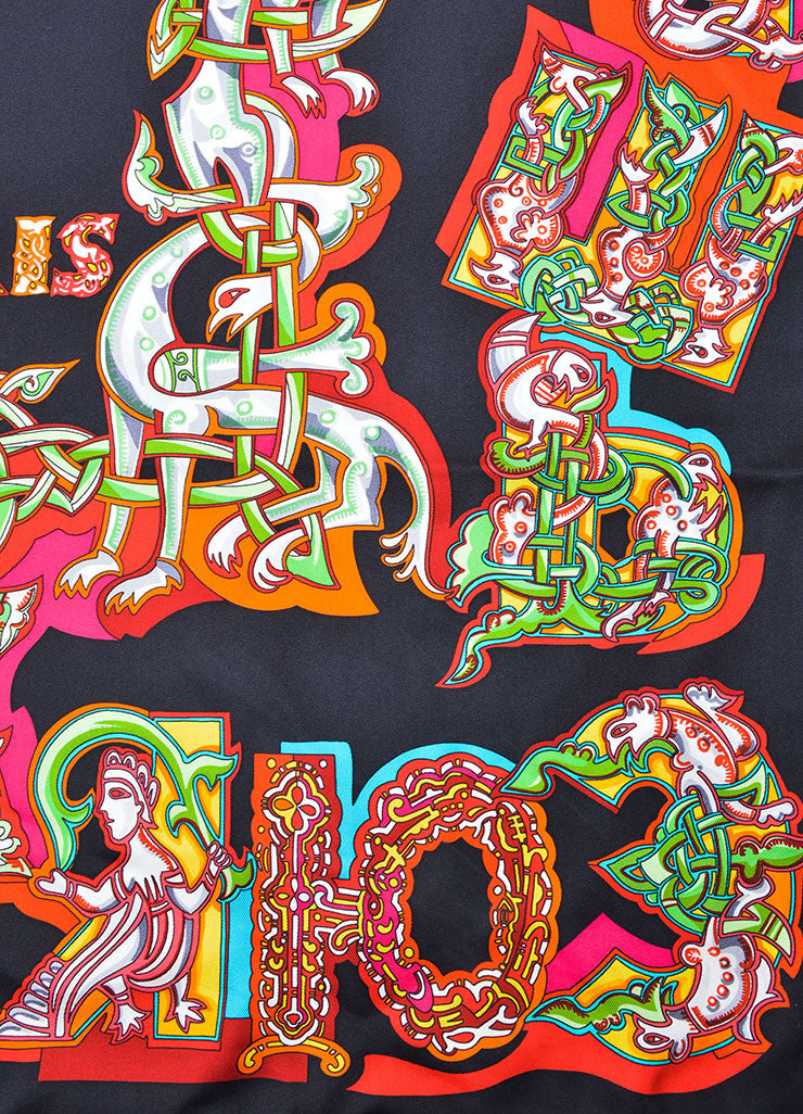 "Hermes Black and Multicolor Silk Twill ""Alphabet Russe"" Russian Print 90cm Scarf Detail"