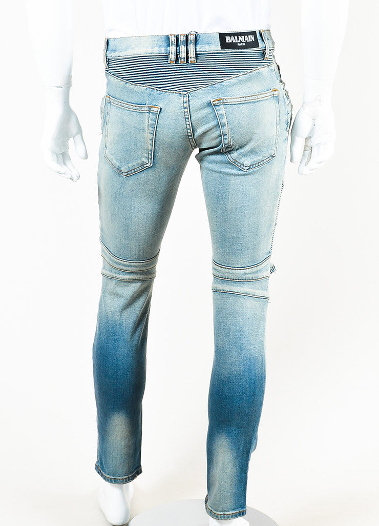 Men's Balmain Blue Denim Faded Distressed Slim Fit Biker Jeans Backview