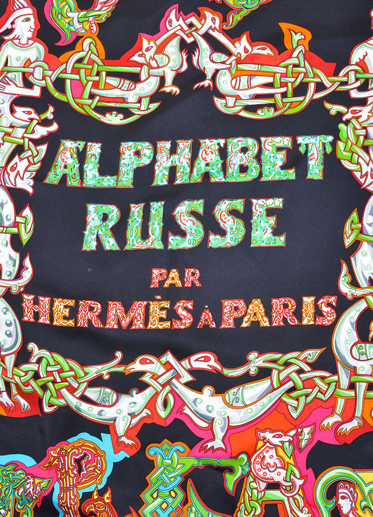 "Hermes Black and Multicolor Silk Twill ""Alphabet Russe"" Russian Print 90cm Scarf Detail 2"