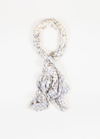 Louis Vuitton Cream and Lavender Cashmere and Silk Monogram Frayed Edge Scarf Frontview