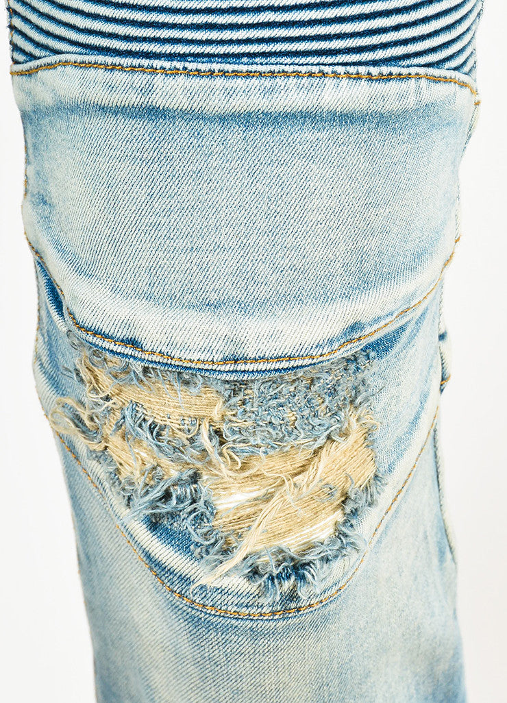 Men's Balmain Blue Denim Faded Distressed Slim Fit Biker Jeans Detail