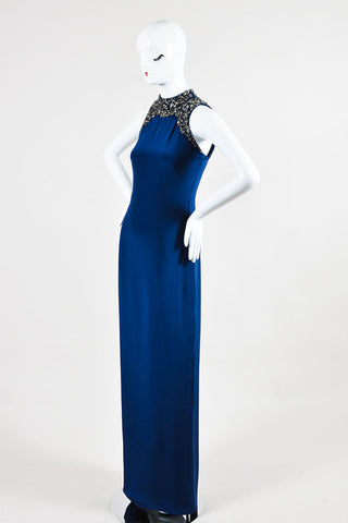 Navy and Metallic Silver Marchesa Notte Silk Embellished Sleeveless Gown Sideview