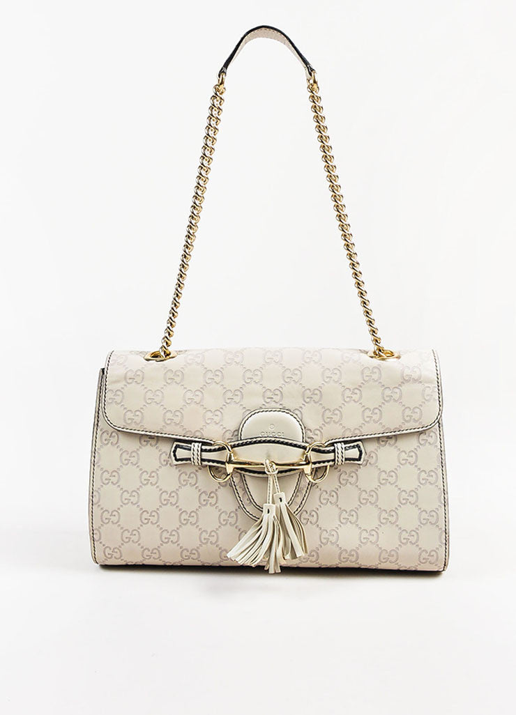 "Gucci Off White Leather Monogram Tassel Chain Strap ""Emily"" Shoulder Bag Frontview"