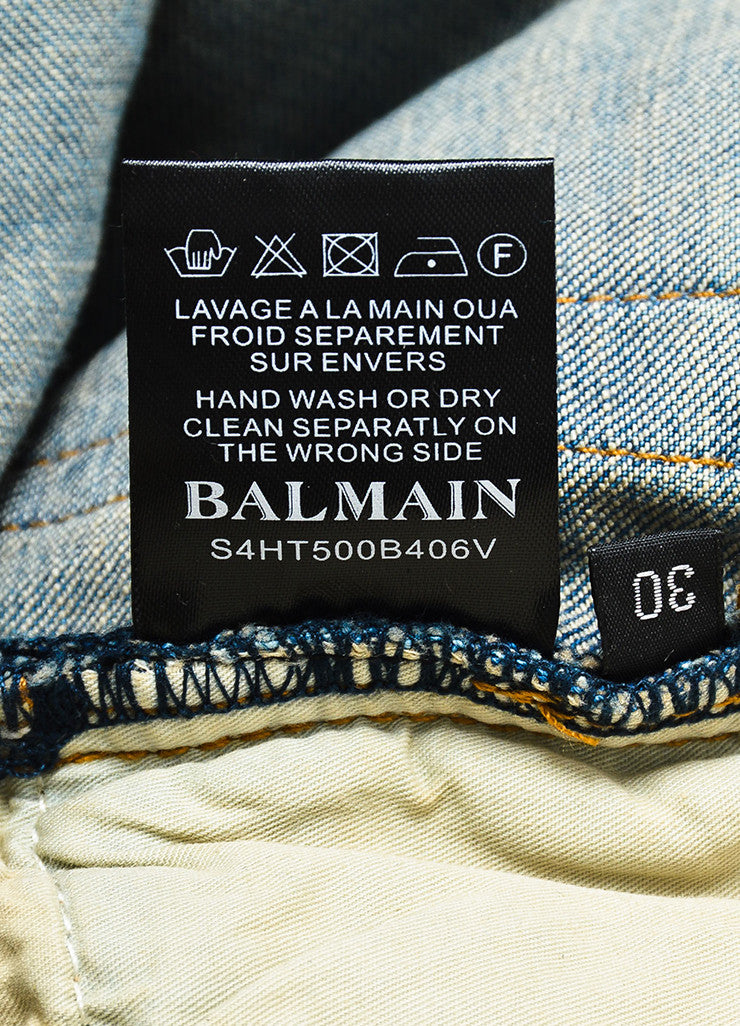 Men's Balmain Blue Denim Faded Distressed Slim Fit Biker Jeans Brand