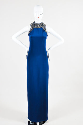 Navy and Metallic Silver Marchesa Notte Silk Embellished Sleeveless Gown Frontview