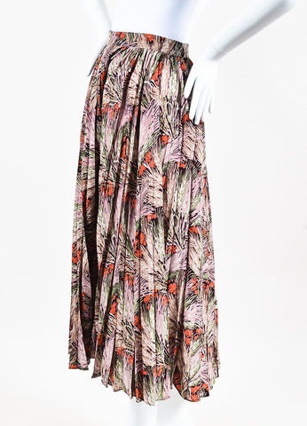 Valentino Multicolor Silk Floral Print Pleated Maxi Skirt  Sideview