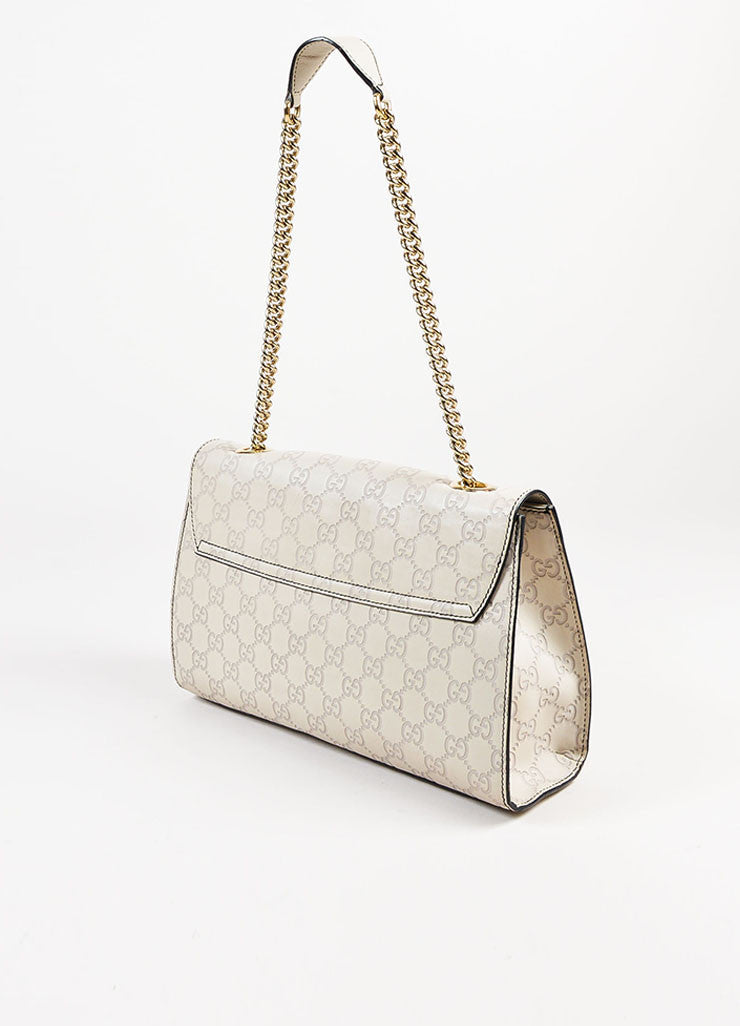 "Gucci Off White Leather Monogram Tassel Chain Strap ""Emily"" Shoulder Bag Sideview"