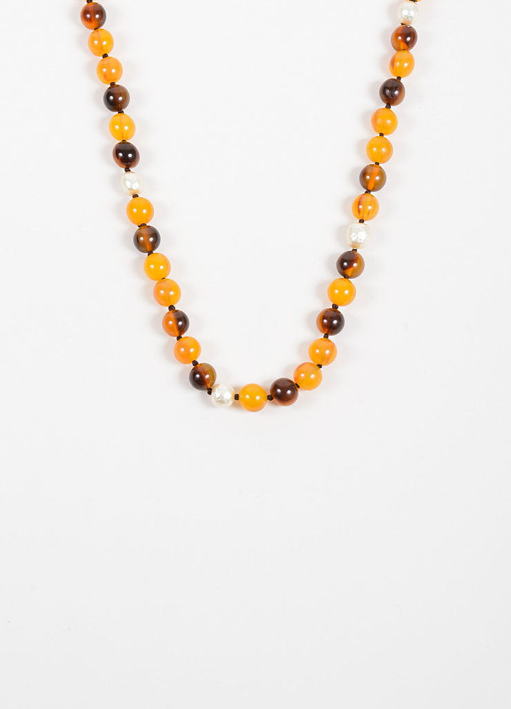 Yellow and Brown Chanel Resin and Faux Pearl Beaded Single Strand Necklace Detail