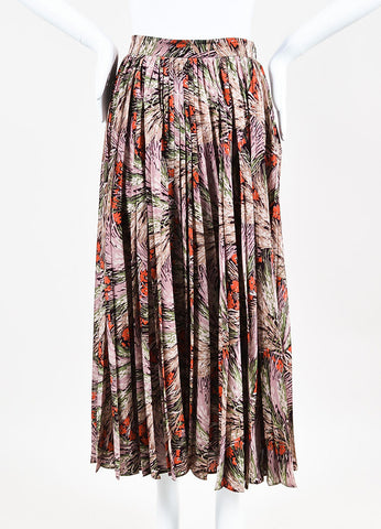 Valentino Multicolor Silk Floral Print Pleated Maxi Skirt Frontview