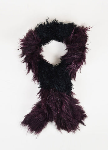 "Soia & Kyo Black and ""Grape"" Burgundy Mongolian Fur ""Isabetta"" Scarf Frontview"