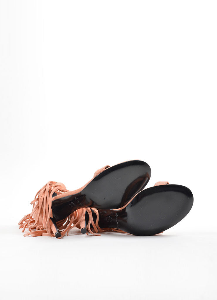 "Elyse Walker Peach Suede Fringe Ankle Strap ""Alex"" Sandals Outsoles"