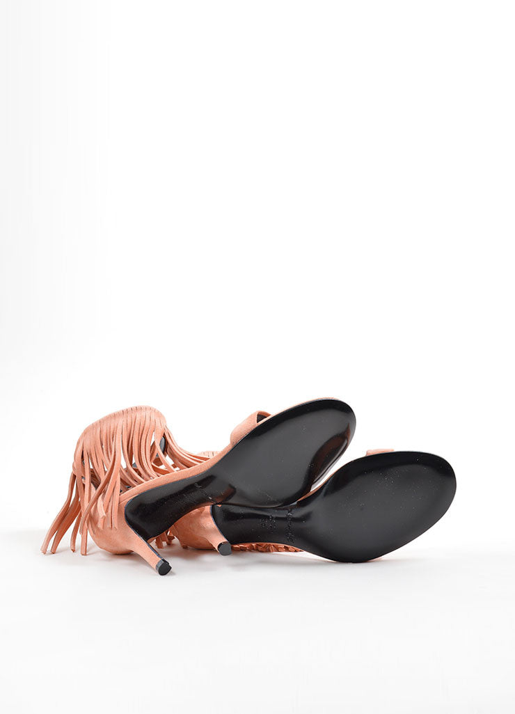 "Elyse Walker Peach Suede Fringe Ankle Strap ""Alex"" Heeled Sandals Outsoles"