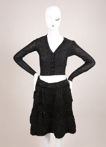Alaia Black and Gold Knit Metallic Long Sleeve Crop Cardigan and Ruffle Skirt Set Frontview