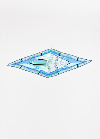 Emilio Pucci Seafoam Green, Blue, and Grey Silk Printed Diamond Shaped Scarf Frontview 2