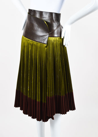 Hermes Green Brown Silk Leather Wool Logo Print Pleated Wrap Skirt Side