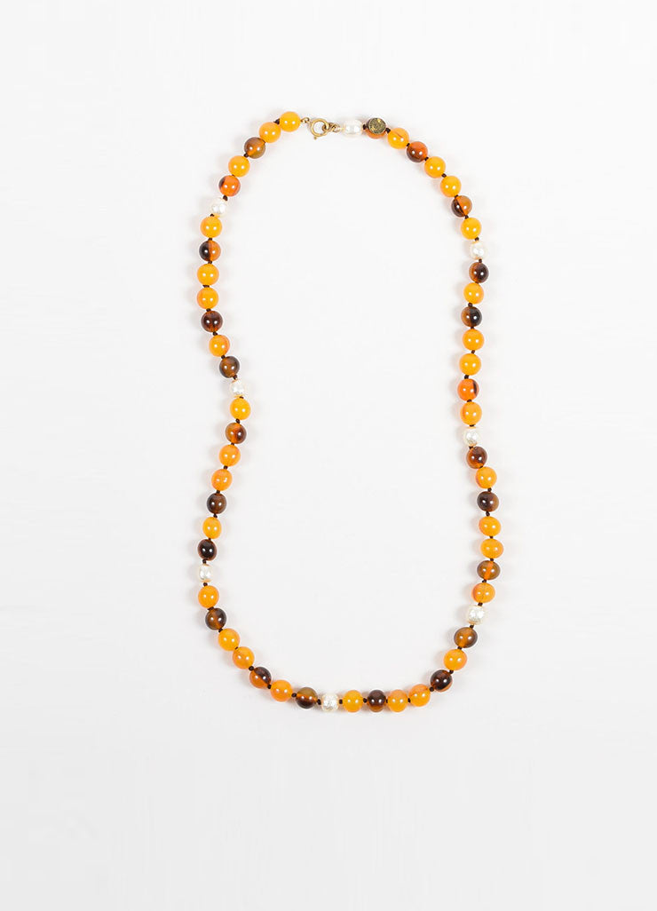 Yellow and Brown Chanel Resin and Faux Pearl Beaded Single Strand Necklace Frontview