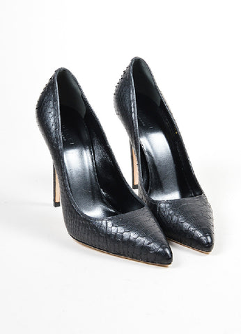 "Black Gucci Python Leather ""Brooke"" 110mm Stiletto Heel Pumps Frontview"