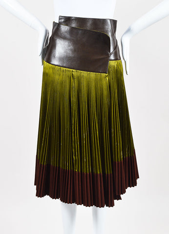 Hermes Green Brown Silk Leather Wool Logo Print Pleated Wrap Skirt Front