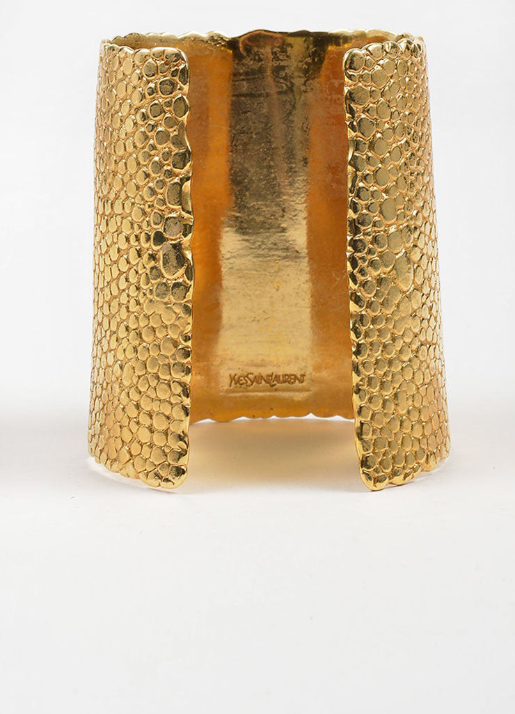 "Yves Saint Laurent Gold Toned Textured ""Stingray"" Cuff Bracelet Backview"