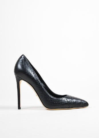 "Black Gucci Python Leather ""Brooke"" 110mm Stiletto Heel Pumps Sideview"